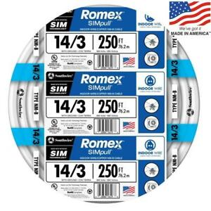 Southwire 63946855 Romex Simpull 250 ft 14 3 Non metallic Wire by the roll New