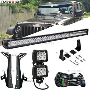 50inch Led Light Bar Roof Windshield Mount Brackets For 07 17 Jeep Wrangler Jk