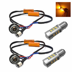 1157 Dual Color Led Error Free Turn Signal Lamp Bulbs Load Resistors Canceller