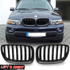 For Bmw E53 X5 4 Door 2004 2005 2006 Suv Kidney Front Grill Hood Matte Black