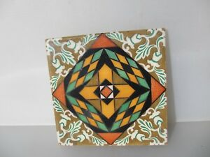 Large Vintage Spanish Ceramic Tile Old Colourful Flower Gilt Leaf Design 8