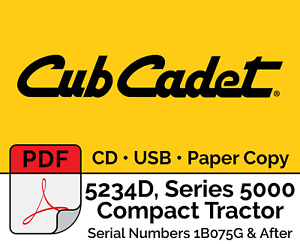 Cub Cadet 5234d Compact Tractor S n 1b075g After Pdf Cd Usb Hard Copy