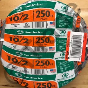 Southwire 13056755 250 ft 10 2 Uf b Wire by the roll New Free Shipping