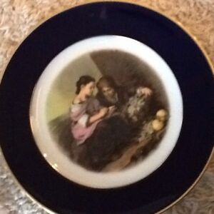 Beautiful Antique Cobalt Portrait Plate Heinrich Germany No Chips Old