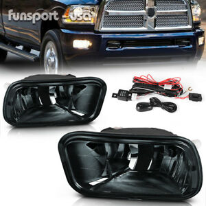 For 2009 2012 Dodge Ram 1500 10 17 2500 3500 Smoke Lens Bumper Fog Lights Lamps