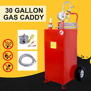 30 Gallon Gas Caddy Tank With Wheels Fuel Storage Gasoline Fluid Diesel