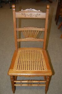 Vintage Oak Cane Bottom Chair Carved Wood Details Spindle Accents From Estate