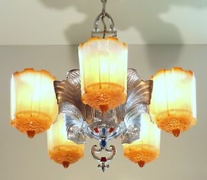 Art Deco Machine Age 5 Light Slip Shade Chandelier Hanging Ceiling Lamp Fixture