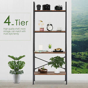 4 Shelves Ladder Bookcases Storage Rack Leaning Wall Tier Display Office Brown