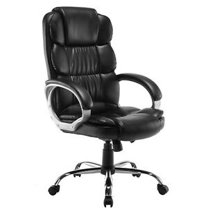 Luxury Boss Style Executive High Back Pu Office Chair Computer Black