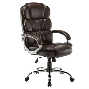 Luxury Boss Style High Back Pu Leather Office Chair Executive Computer Brown