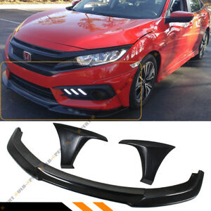 For 16 18 10th Honda Civic Gt Style Front Bumper Splitter Lip 2 Pc Side Caps