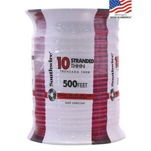 Southwire 22975757 500 ft 10 awg Stranded Red Copper Thhn Wire By roll New Fsh