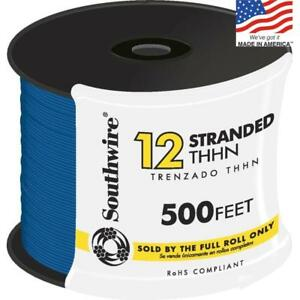 Southwire 22967458 500 ft 12 awg Stranded Blue Copper Thhn Wire By roll New Fsh