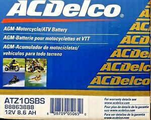 Acdelco Atz10sbs Specialty Agm Powersports Jis 10s Bs Battery