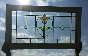 Antique Leaded Stained Glass Window Tulip Victorian Old Cottage Vtg Chic 396 18p