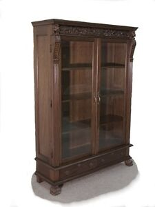 Tall Carved Mahogany Bookcase Display Glass Doors Wow