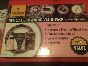 Browning Valuepack Steering Wheel Cover Decal Keychain Visor Pink Mossy Oak Camo