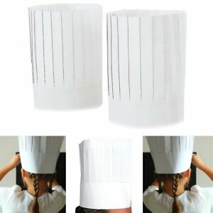 New Disposable White 9 Paper Chef Tall Hat Set Food Service Supplies 10pc Bulk
