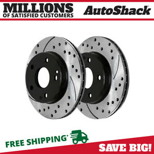 Front Drilled Slotted Brake Rotors Pair 2 Fits 04 08 Chrysler Crossfire 96767