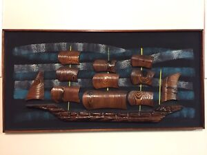 Witco Wilrongo 3d Viking Ship Mid Century Modern Tiki Art Original Signed 48x 25