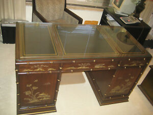 Sligh Executive Desk Oriental Hand Painted Black Leather Inlays
