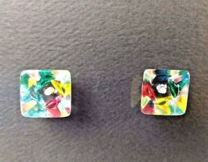 2 Vintage Kaleidoscope Buttons Charm String Jewel Colored Czechoslovakia