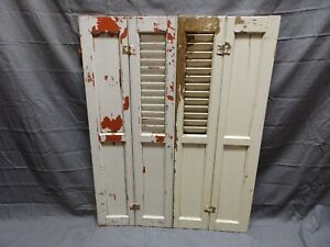 Antique Bi Fold Window Wood Louvered Paneled Shutters 33x25 Interior Vtg 422 18p
