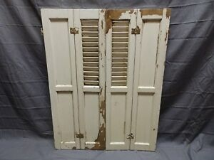 Antique Bi Fold Window Wood Louvered Paneled Shutters 33x25 Interior Vtg 424 18p