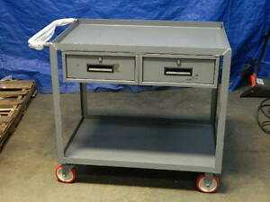 Little Giant Welded Steel Service Cart W 2 Storage Drawers 1200 Lb Capacity