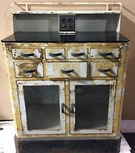 Antique Vintage Medical Cabinet Metal Ta217