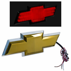 2007 2013 Chevy Silverado Rear Tailgate Light Up Gold Bowtie Emblem W Red Led