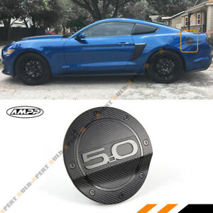For 15 18 Ford Mustang 5 0 Carbon Fiber Texture Add On Gas Fuel Door Cover Cap