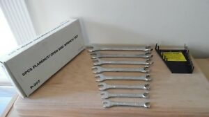 Vintage 8 Pc Drop Forged Flare Nut Open End Wrench Set Wrench Holder Taiwan