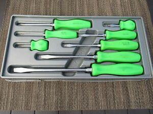 Rare Snap On Green Handle Screwdriver Set 8 Pc Sddx80g Sdd Sddp Phillps
