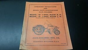 Allis Chalmers G 1 Disc Plow R h L h Manual