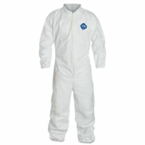 25c Small Dupont Ty120s White Tyvek Disposable Coverall Suit Elastic Wrist Ankle