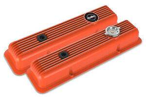 Holley 241 136 Factory Orange Finned Muscle Car Series Sb Chevy Valve Covers Z28 Fits Corvette