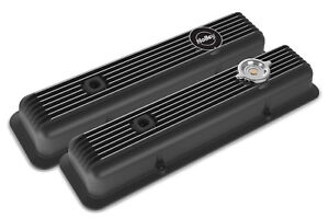 Holley 241 135 Muscle Car Series Sbc Valve Covers Black Finned Z28 L82 Lt1