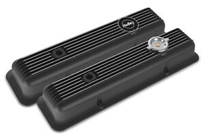 Holley 241 135 Black Finned Muscle Car Series Sb Chevy Valve Covers Z28 L82 Lt1 Fits Corvette