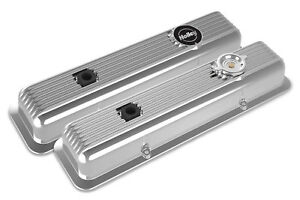 Holley 241 137 Muscle Car Series Sbc Valve Covers Polished Finned Z28 L82 Lt1
