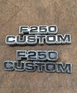73 79 Ford Truck F250 Custom F 250 Emblems Pair On Cowl Oem
