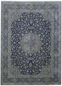 Fine Weave Hand Knotted Navy Blue 10x14 Persian Kashan Signed Rug