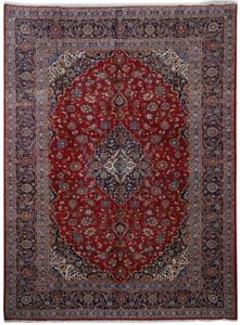 Clearance Kashan Signed Rug Indoor Carpets Hand Knotted Red 9x13 Persian Rug