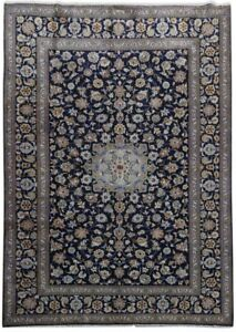 9 X 12 Kashan Signed Area Rug Deals Handmade Persian Rug Navy Blue Rug