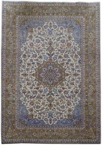 Persian Rug Hand Knotted 9x13 Kashan Signed Ivory Rug