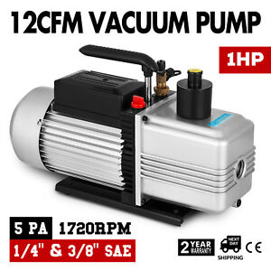 Single Stage Vacuum Pump Rotary Vane 12cfm 1hp Deep Hvac Ac Air Tool Black New