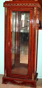 Antique 70 Tall Federal Empire Curio Display Cabinet W Inlay