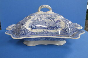 Antique Ironstone Blue Transferware Covered Vegetable Tureen Bowl