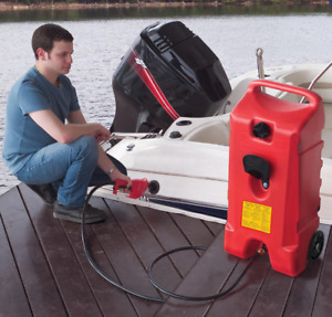 Portable Fuel Tank Container 14 Gallon Rolling Gas Can Pump Siphon Hose Resin